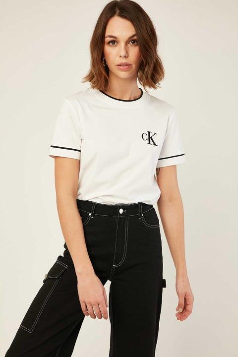 Calvin Klein Embro Tipping Tee White