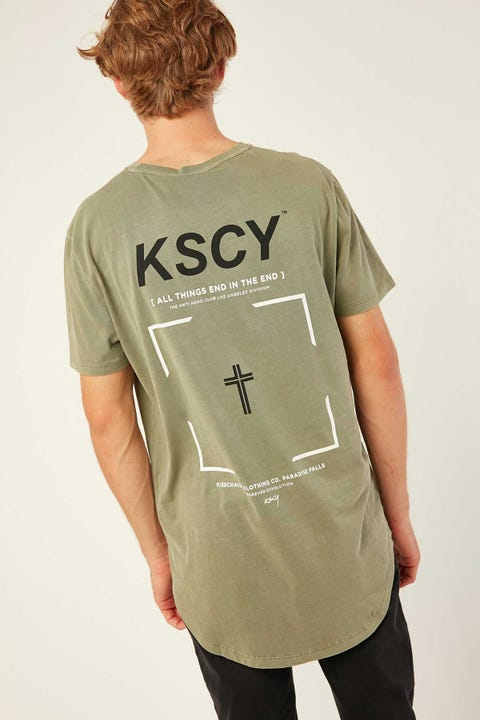 KISS CHACEY Founded Dual Scoop Tee Pigment Khaki
