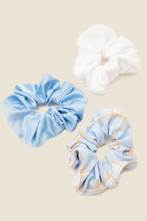 TOKEN Scrunchie 3 Pack Blue & White