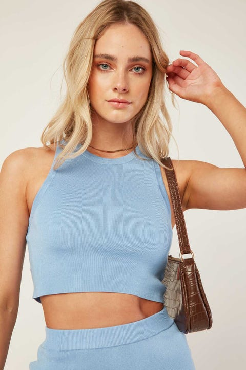 PERFECT STRANGER Valencia Knit Top Blue