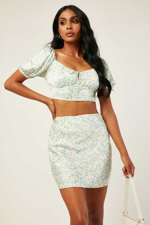 PERFECT STRANGER Valencia Skirt White Floral