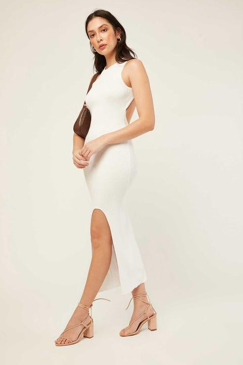 PERFECT STRANGER Valencia Knit Midi Dress White