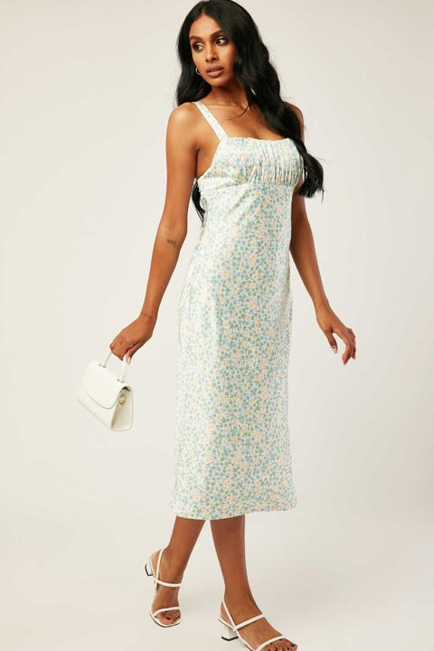 PERFECT STRANGER Valencia Midi Dress White Floral