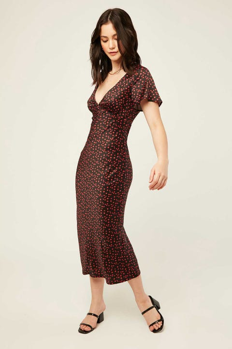 PERFECT STRANGER Limelight Midi Dress Black Print