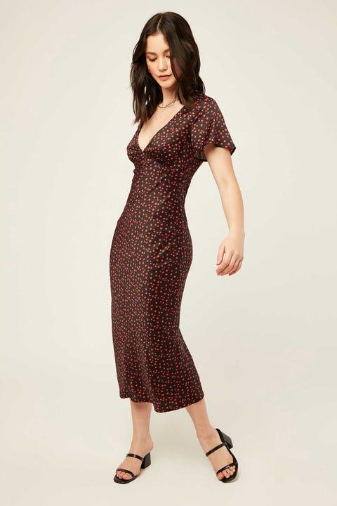 Perfect Stranger Limelight Midi Dress Black Print