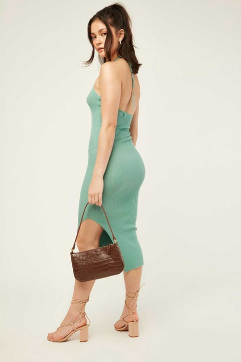 Perfect Stranger Halter Knit Dress Biscay Green