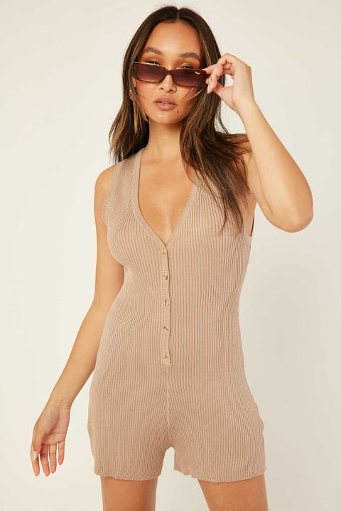 Perfect Stranger Bliss Knit Playsuit Taupe