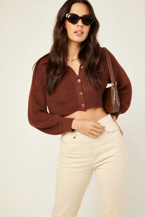 PERFECT STRANGER Slouchie Collared Knit Hazelnut