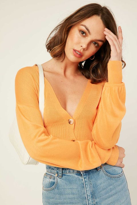 PERFECT STRANGER Sweetheart Knit Top Orange