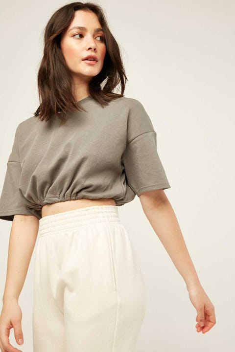 LUCK & TROUBLE Pull Cord Cropped Tee Grey
