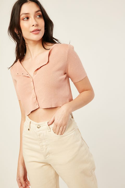 LUCK & TROUBLE Lexi Short Sleeve Knit Pink