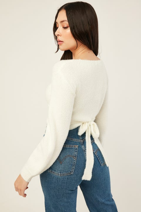 LUCK & TROUBLE Blair Knit Top White