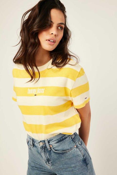 Tommy Jeans Stripe Logo Tee Lemon Splash/Starfruit Yellow