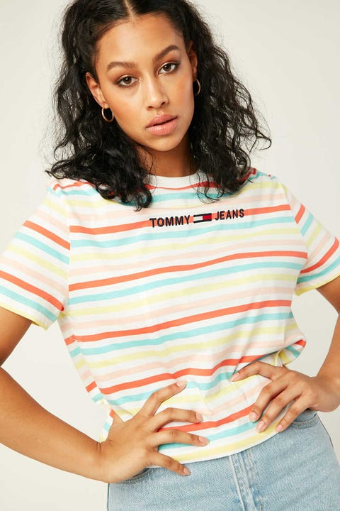 TOMMY JEANS Summer Stripe Logo Tee Frozen Lemon/ Multi