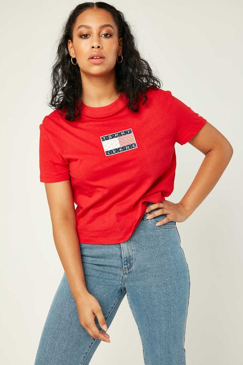 TOMMY JEANS Star Americana Flag Tee Deep Crimson