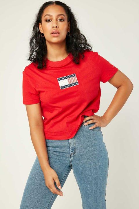 Tommy Jeans Star Americana Flag Tee Deep Crimson