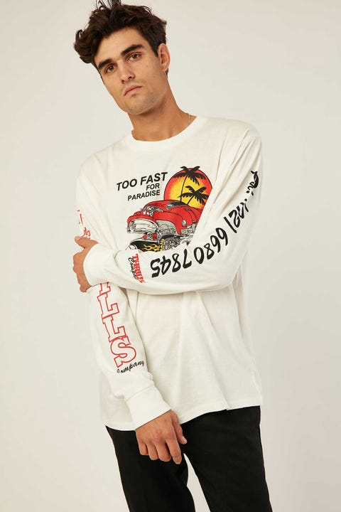 THRILLS Too Fast Merch Fit Long Sleeve Tee Dirty White