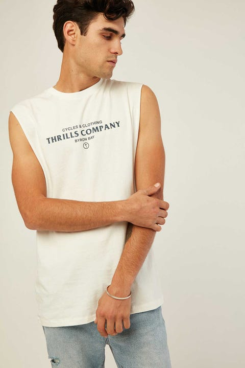 THRILLS Never Broken Merch Fit Muscle Dirty White