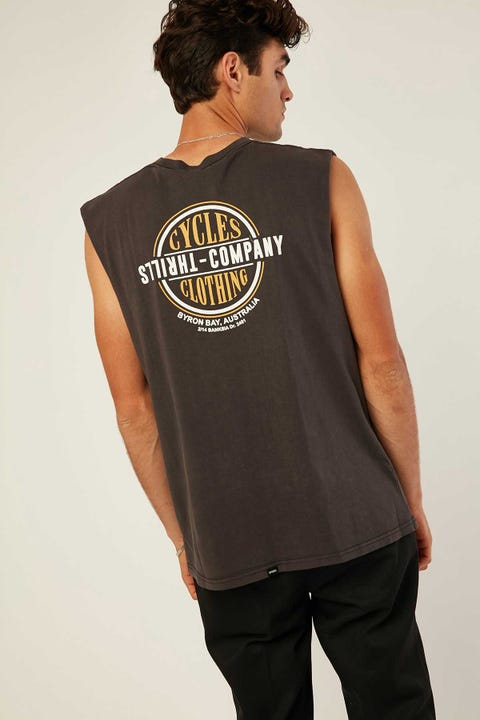 Thrills Cycles & Clothing Merch Fit Muscle Tee Vintage Black