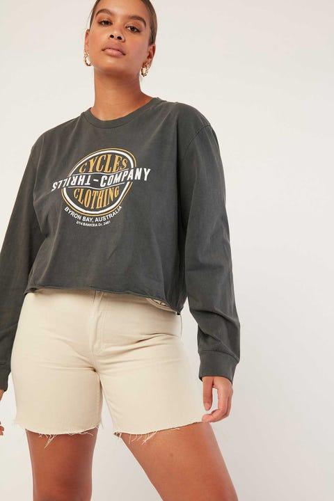THRILLS Cycles & Clothing Crop Long Sleeve Tee Merch Black