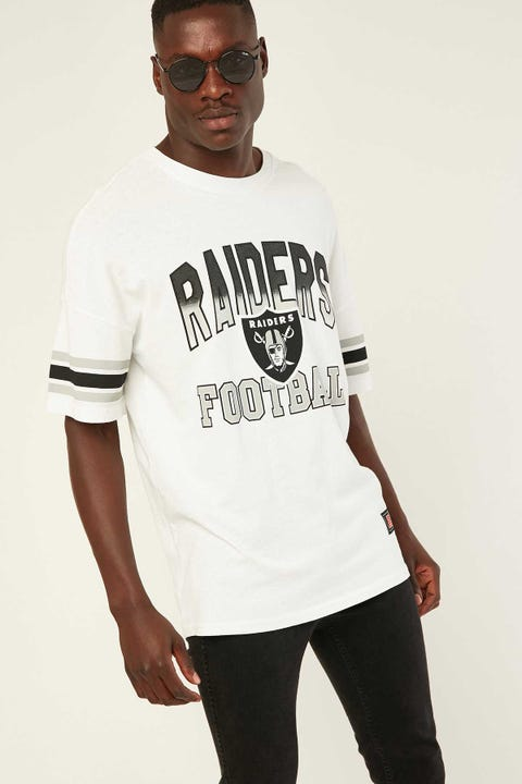 Majestic Athletic Raiders Stripe Sleeve Tee Bone White