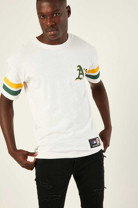 Majestic Athletic Team Stripe Sleeve Tee Bone White