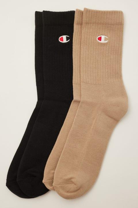Champion C Logo Crew Sock 2 Pack Tourmaline Green/Country Walnut
