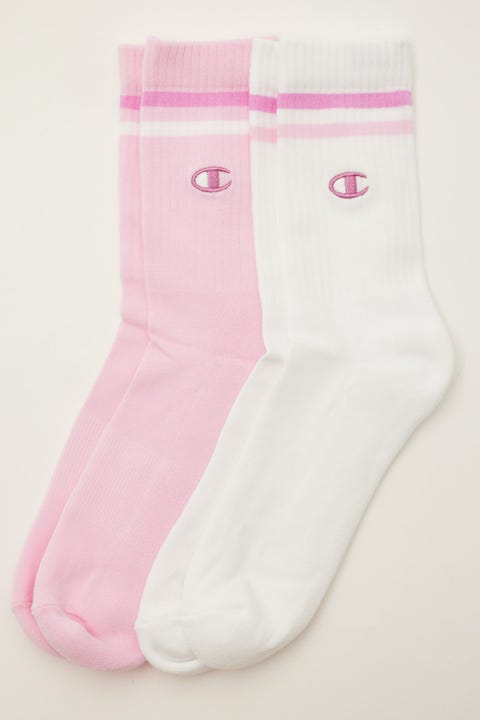 Champion Branded Crew 2 Pack White/Xtra Pink