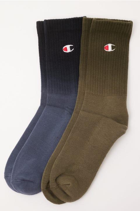 Champion Ombre Crew Sock 2 Pack Peppercorn Grey/Tourmaline Green