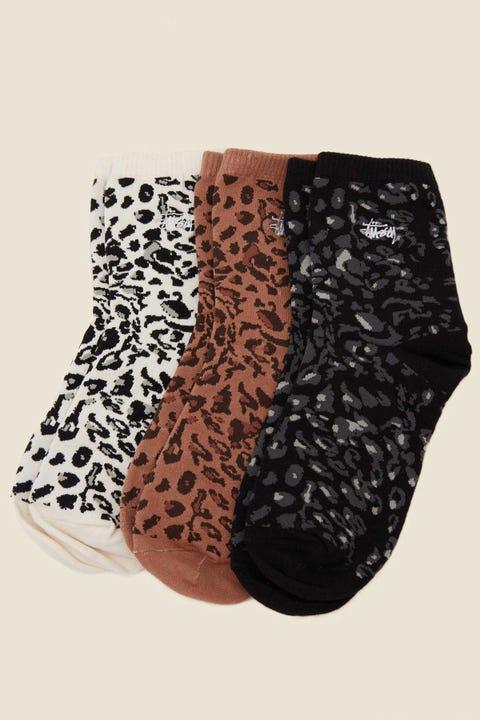 STUSSY Leopard Socks 3pk Leopard Multi