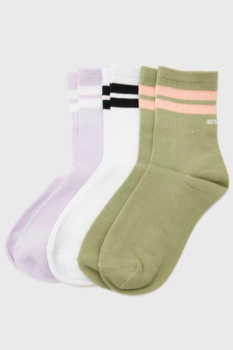 Stussy Double Stripe Sock 3pk Multi