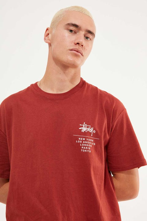 Stussy Left Chest City Stack SS Tee Solid Brick