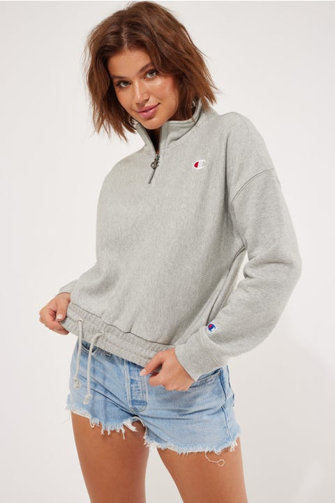 Champion Reverse Weave Quarter Zip Oxford Heather