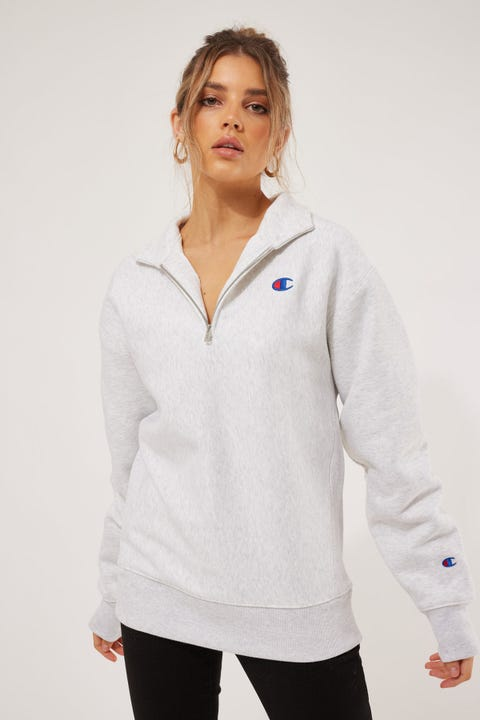 Champion Reverse Weave BF Quarter Zip Silver Grey