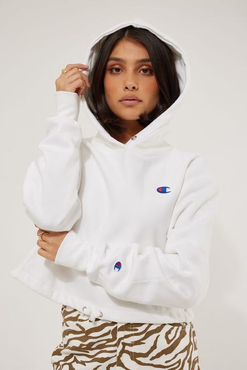 Champion Reverse Weave Cinch Waist Hood White