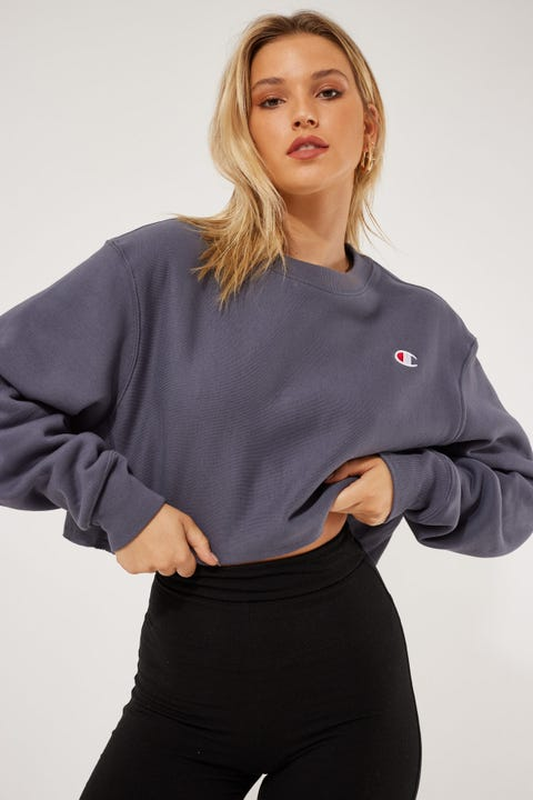 Champion Reverse Weave Cropped Crew Peppercorn Grey