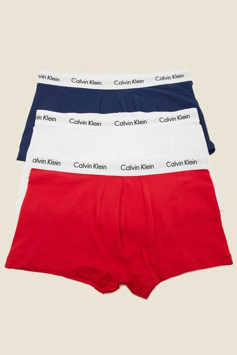 CALVIN KLEIN Cotton Stretch Low Rise Trunk 3 Pack White/Red Ginger/Pyro Blue