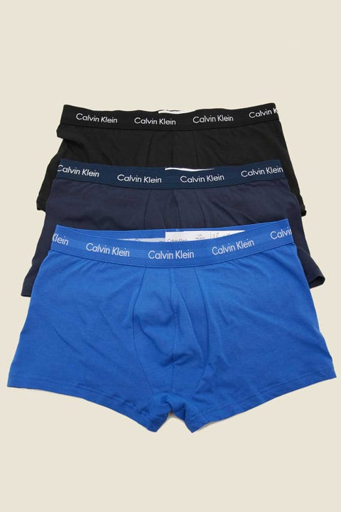 CALVIN KLEIN Cotton Stretch Low Rise Trunk 3 Pack Black/Blue Shadow/Cobalt Water