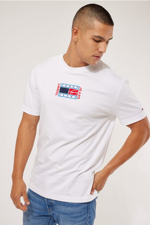 Tommy Jeans TJM Timeless Tommy Flag Tee White