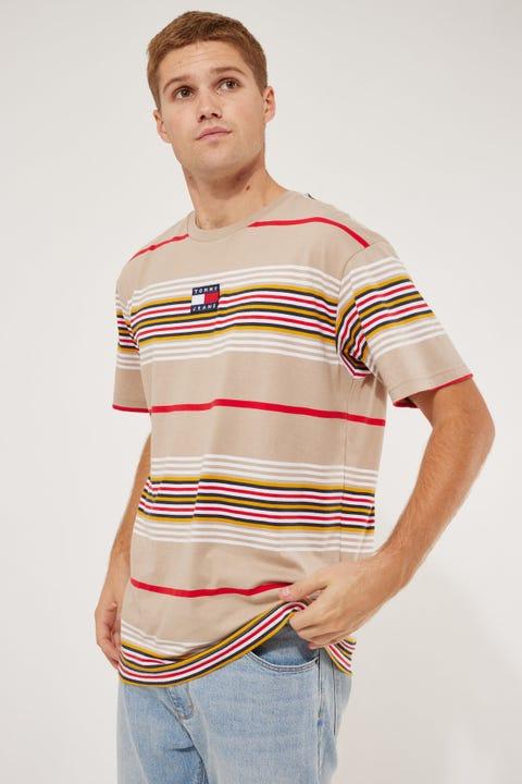 Tommy Jeans TJM Centre Stripe Badge Tee Soft Beige/Multi