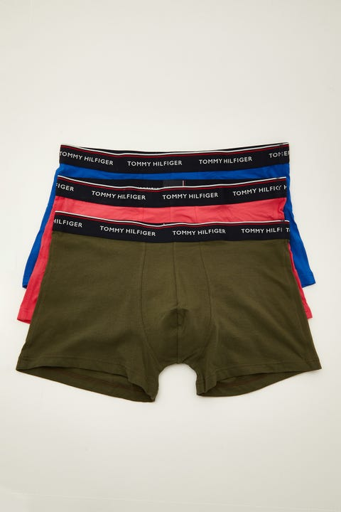 Tommy Jeans Premium Essentials Trunk 3 Pack Electric Blue/Red Carmine/Army