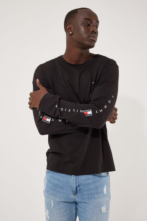 Tommy Jeans Essential Tommy Long Sleeve Tee Black