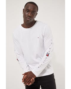 Tommy Jeans Essential Tommy Long Sleeve Tee White