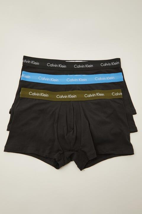 Calvin Klein Cotton Stretch Low Rise Trunk 3 Pack Black w/ Green/Blue/Black