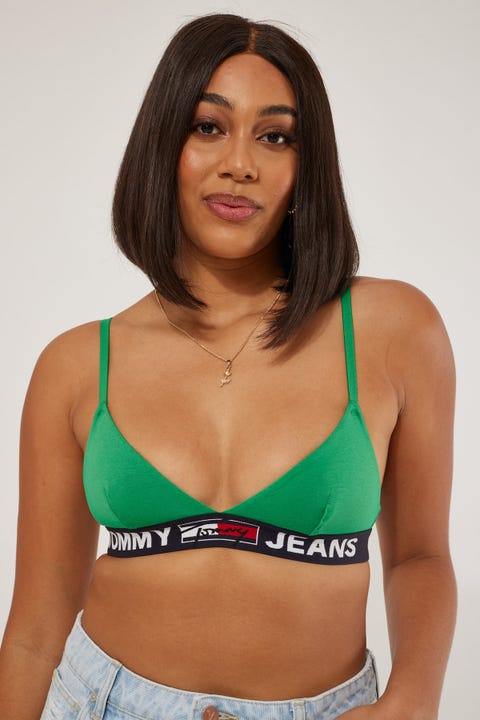Tommy Jeans Triangle Bralette Unlined Primary Green