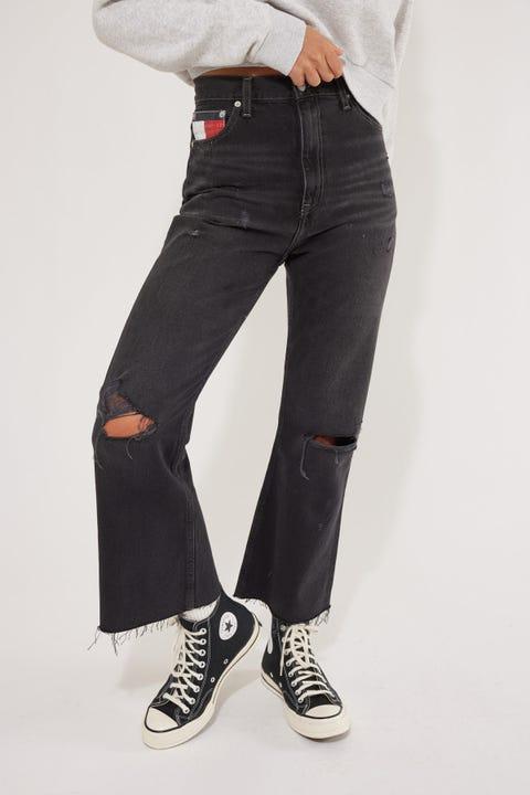 Tommy Jeans Harper High Rise Flare Ankle Save Sp Bk Bk Rgd Spr Destr