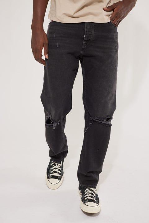 Tommy Jeans Etahn Relaxed Straight Jean Save Black Rigid Destroy