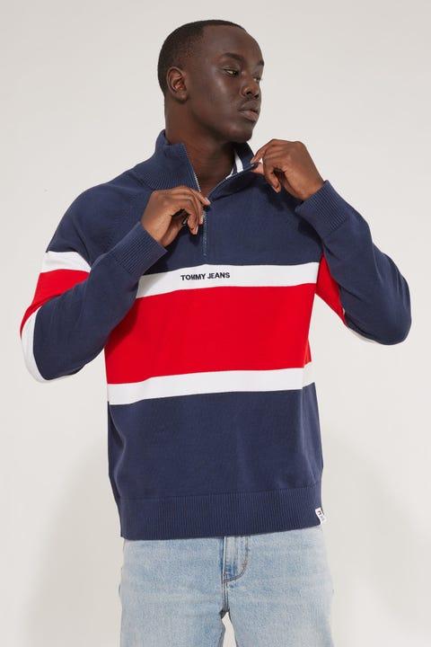 Tommy Jeans TJM Colorblock Mock Neck Sweater Twilight Navy Multi