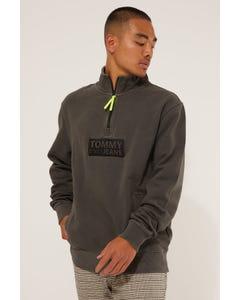 Tommy Jeans TJM Tonal Corp Logo Zip Mock Black