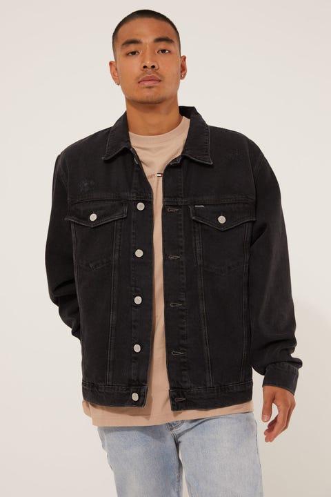 Tommy Jeans Oversize Trucker Denim Jacket Save Black Rigid Destroy